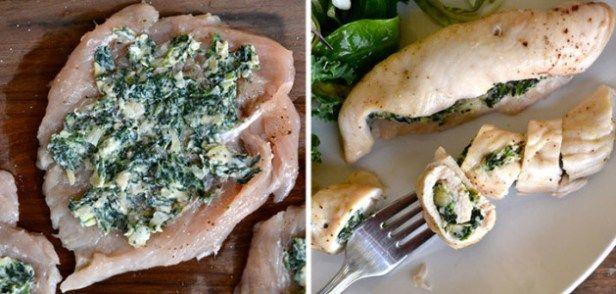 recetas_ligeras_y_rapidas_para_cenar_pollo_relleno_de_espinacas_y_alcachofas