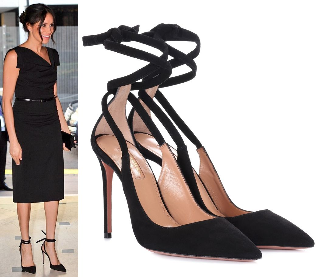 4e3339d6fe70 Aquazzura  Milano  105 Black Suede Pumps as seen on Meghan Markle ...