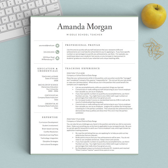 Teacher Resume Template for Word and Pages 1, 2 \ 3 Page Resume - mac pages resume templates