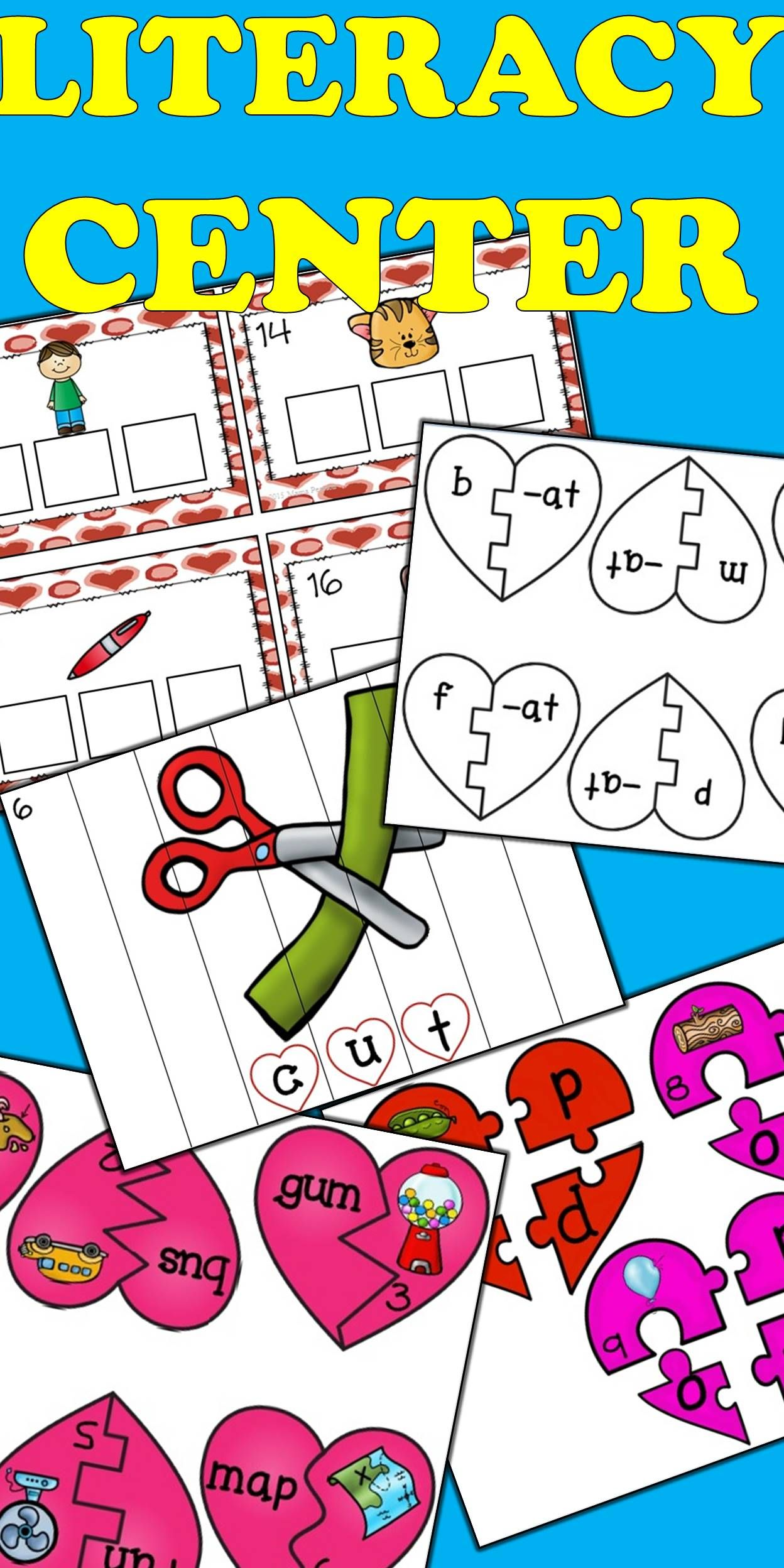 5 PHONICS center activities are included with this product. You receive 50 pages of material that includes instructions. Your students will: write the letters that match a cvc picture (task cards) put three letters together to make a word (puzzle) put strips together to form a picture and word match a picture with a cvc word (puzzle) practice onset and rime (puzzle) $