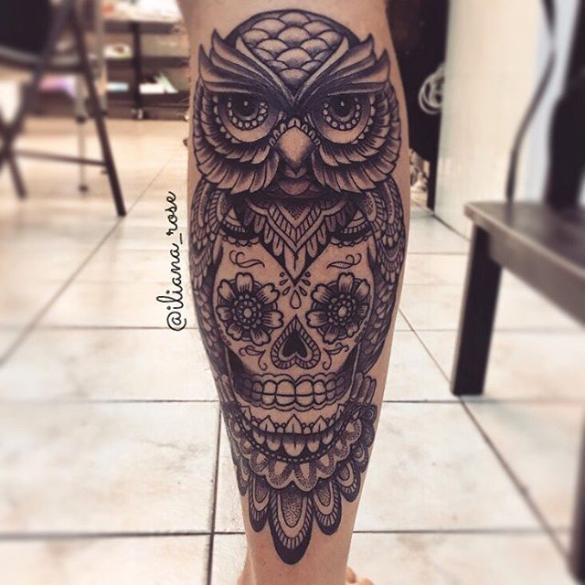 Another Dotd Owl Calf Piece For A Top Customer Calf Tattoo Men Calf Tattoo Calf Tattoos For Women
