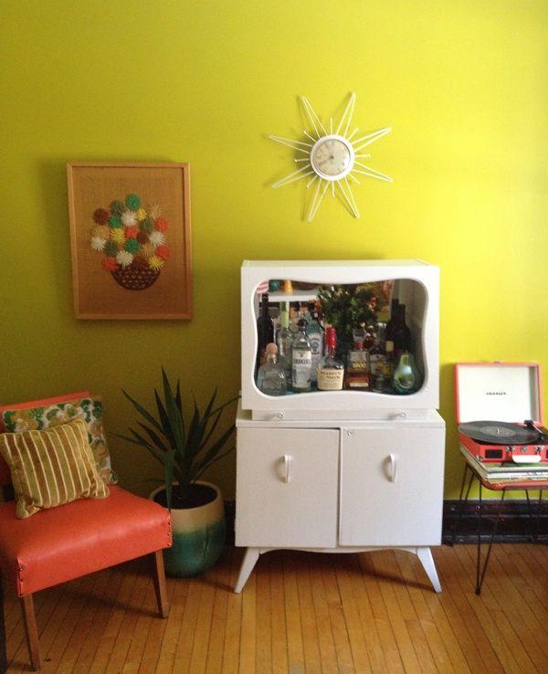 Vintage bar/cabinet makeover-Oh So Lovely Vintage   Reupholstering ...