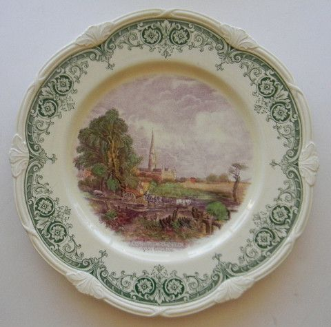 Scenes After Constable Green Purple Two Color English Transferware Plate Constable Salisbury Cathedral Horse Cart Crossing Stream
