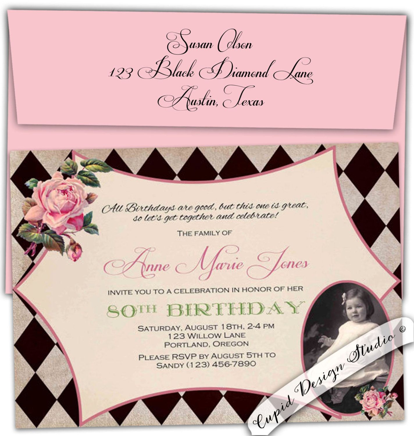 Adult Birthday Invitation/ 80th Birthday Party Invitations