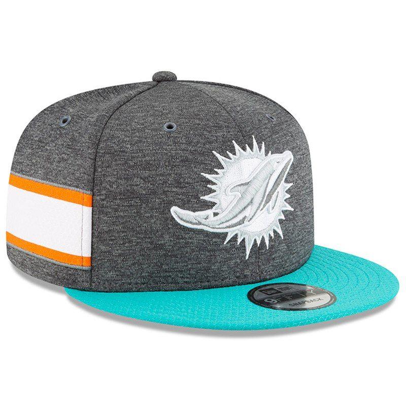 1ae53258 Miami Dolphins New Era 2018 NFL Sideline Home Graphite 9FIFTY Snapback  Adjustable Hat – Heather Gray/Aqua