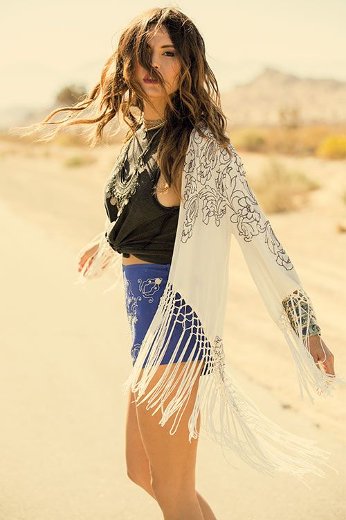Raven hair and ruby lips, sparks fly from her finger tips // Twilight Kimono #annasuiforoneill
