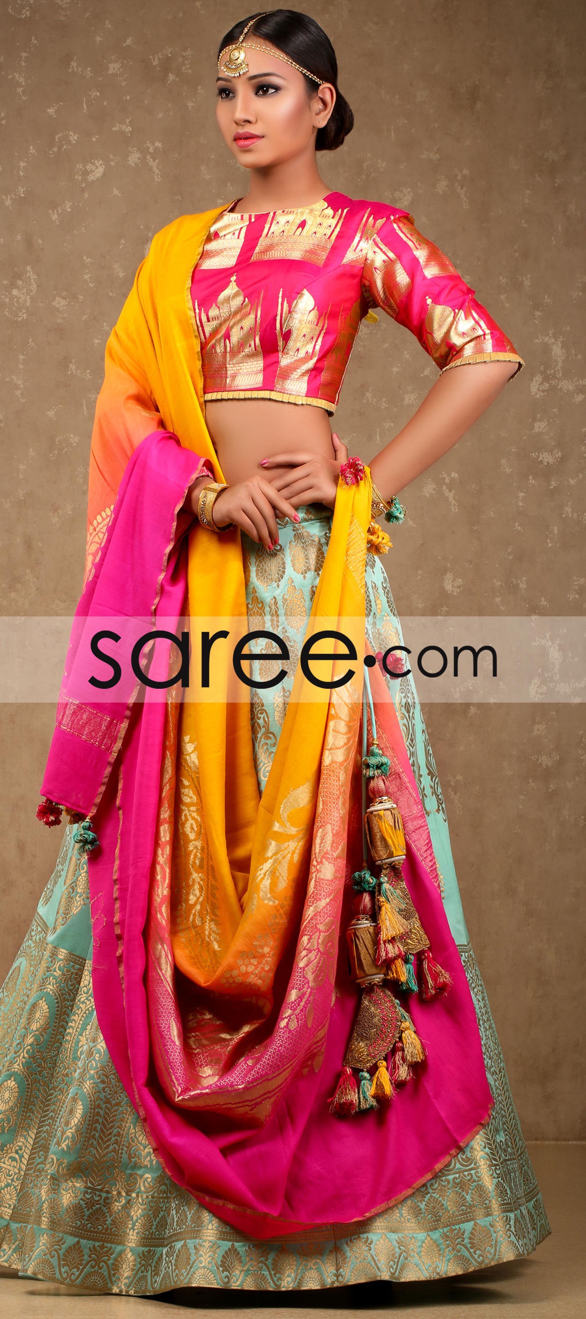 5b291b348bb74 Sea Green Banarasi Silk Lehenga with Taj Mahal Brocade Blouse ...