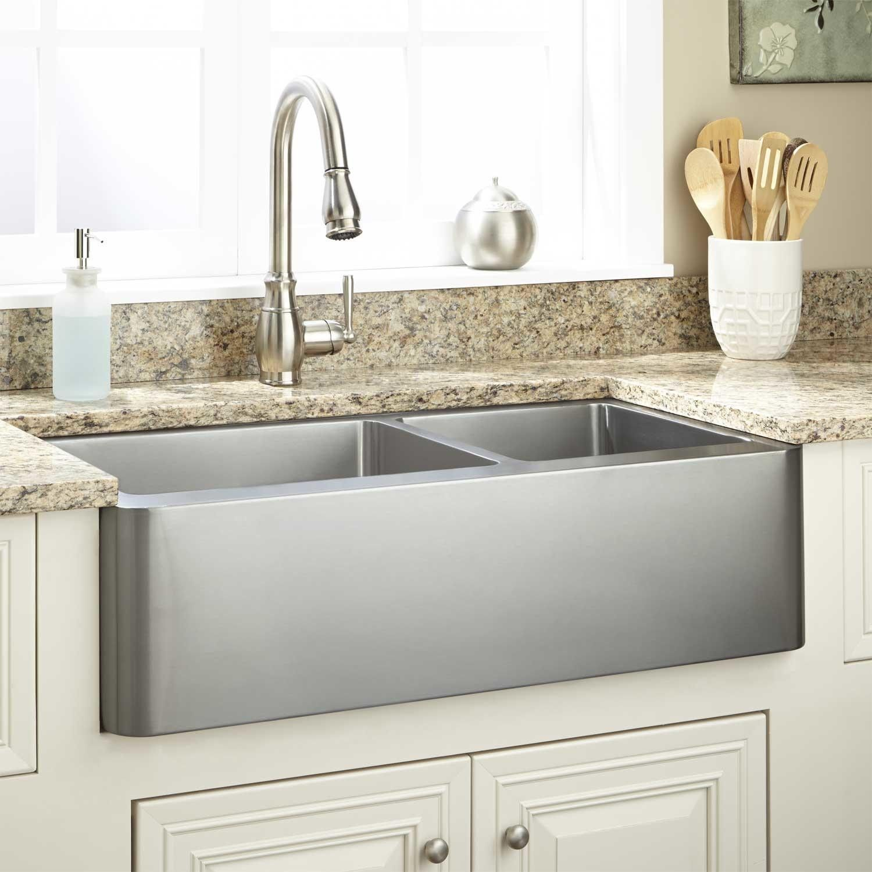 "36"" Hazelton 6040 Offset Doublebowl Stainless Steel Farmhouse Amazing Stainless Kitchen Sinks Inspiration Design"