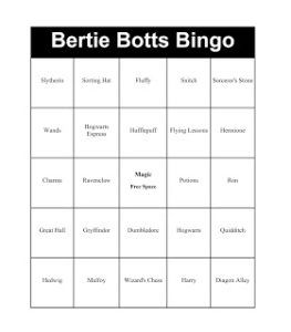 Bertie Botts Bingo {Harry Potter and the Sorcerer's Stone Party}
