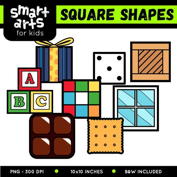 Square Shapes Clip Art Graphics ArtCheck Out The COLOSSAL BUNDLE Of This 2D Colorful S By Smart Arts For Kids