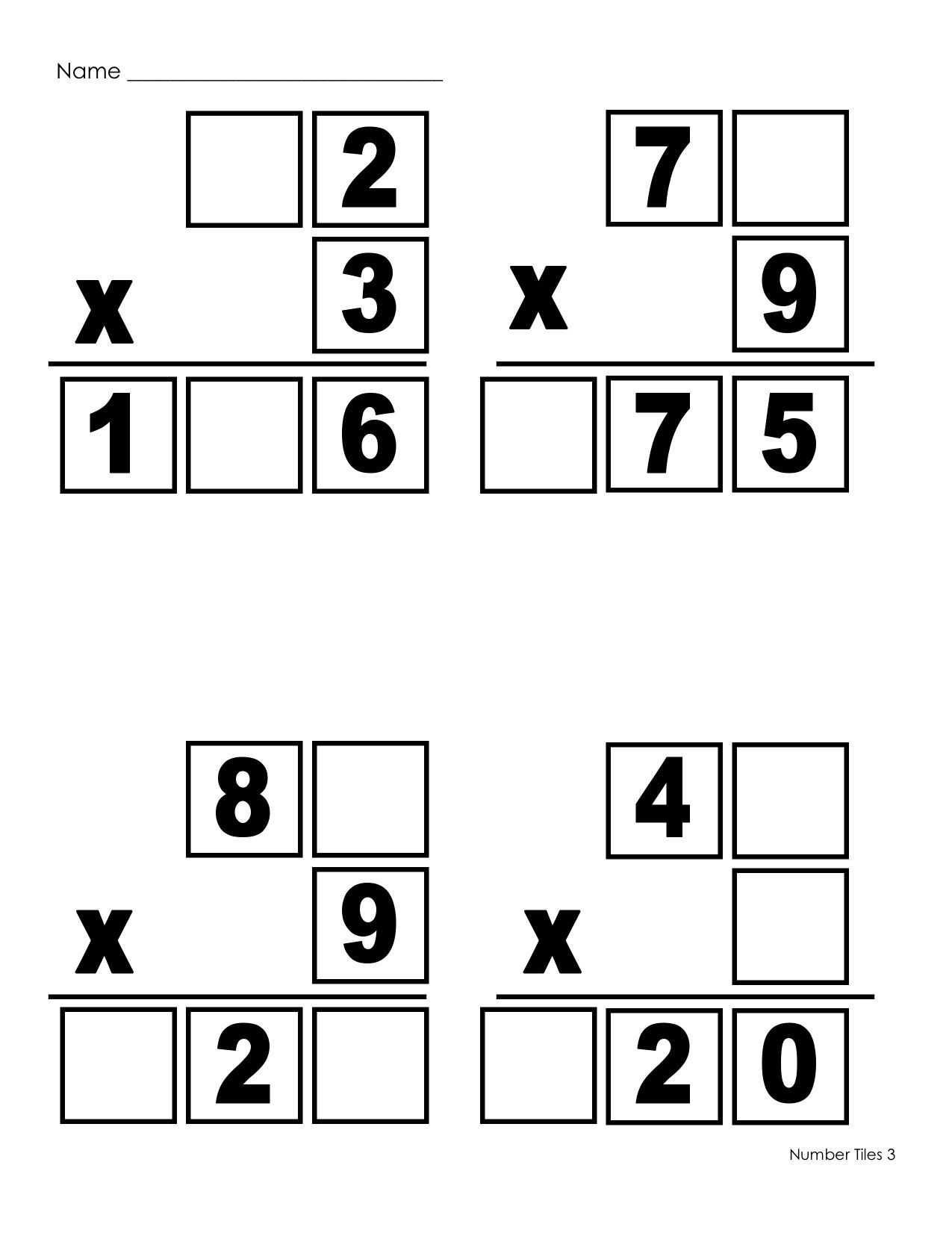 Multiplication Number Tiles Use The Numbers 0 9 One Time Each To Fill In The Blanks Printable Math Worksheets Teaching Math Middle School Math