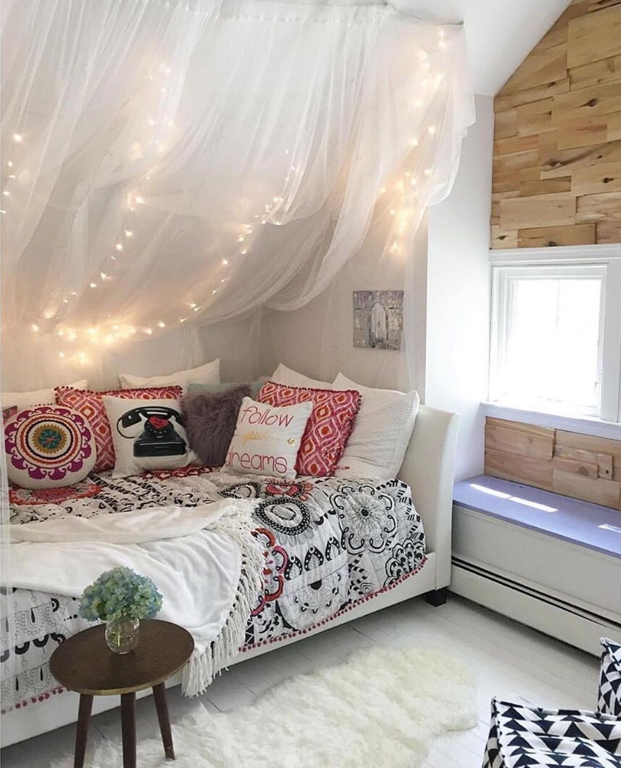 Love The Curtain With Lights On Sloped Wall Slanted Wall Bedroom Walls Room Wall Decor Living Room
