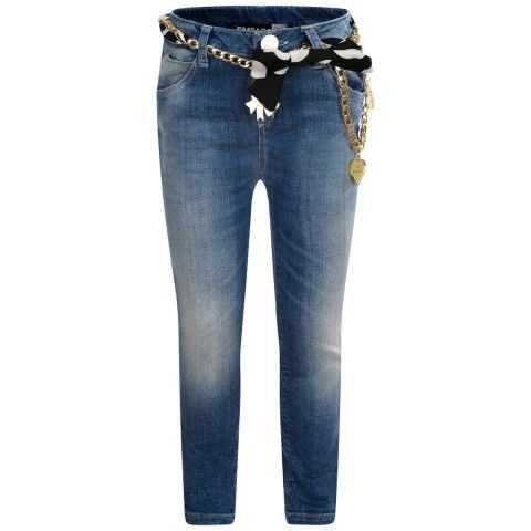 Paesaggino Blue Jeans With Chain & Scarf Belt
