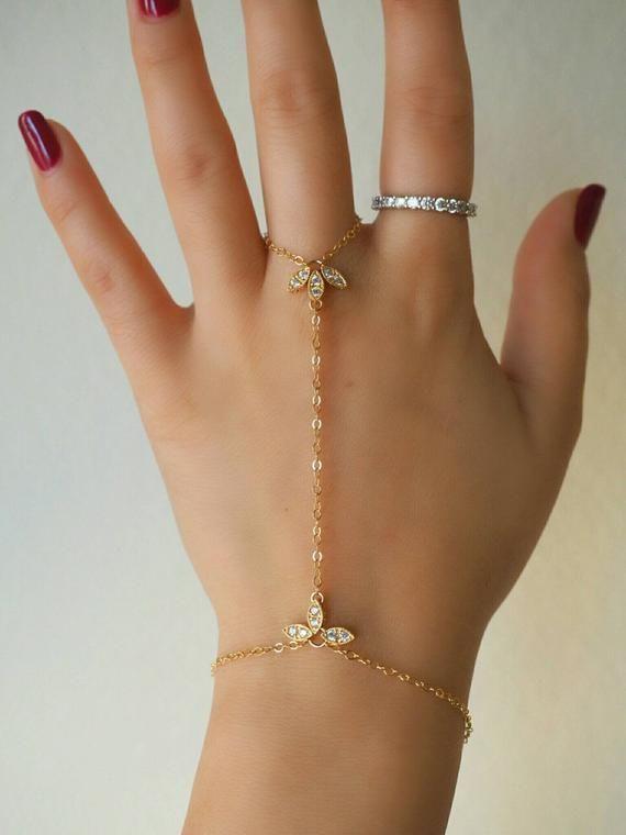 Photo of Jewelry Accessories – 14k Gold voll Marquise CZ Diamond Lotus zierliche Handstück / / zierlic…