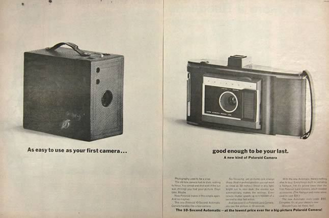Polaroid 10 Second Automatic Camera Ad - 1961 | photography