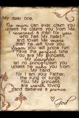 Letter from God to daughter about her prince