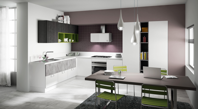 Berloni Cucina B-50 Deck Moka + Cemento + Laccato Bianco Calce ...