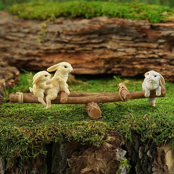Miniature Dollhouse FAIRY GARDEN Furniture ~ Aged Rabbit Bench ~ NEW