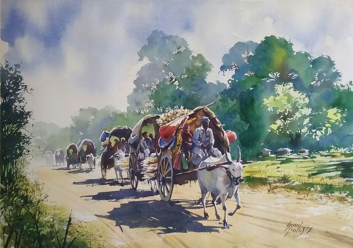 Mojarto Watercolor Landscape Indian Art Paintings Art Painting