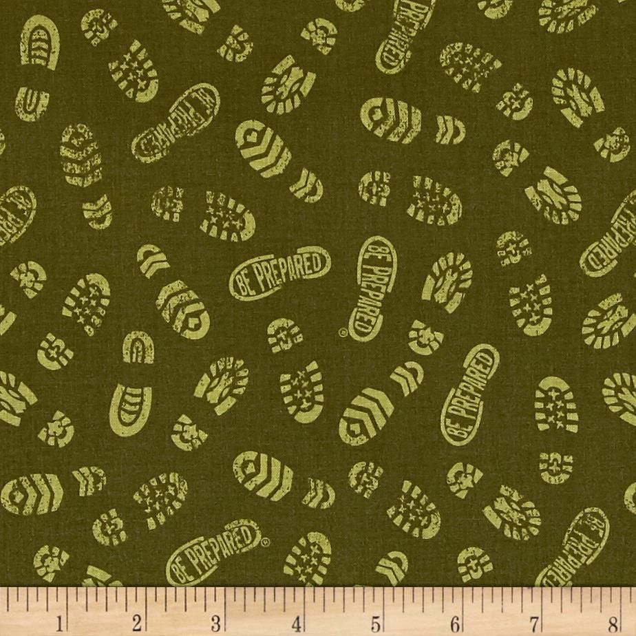 Riley Blake Boy Scouts Of America Scout Prints Green from @fabricdotcom  From Riley Blake Designs under license from the Boy Scouts of America, this cotton print fabric features boot prints with a hidden message, leading to all different paths. Perfect for quilting, apparel and home decor accents. Colors include shades of green.