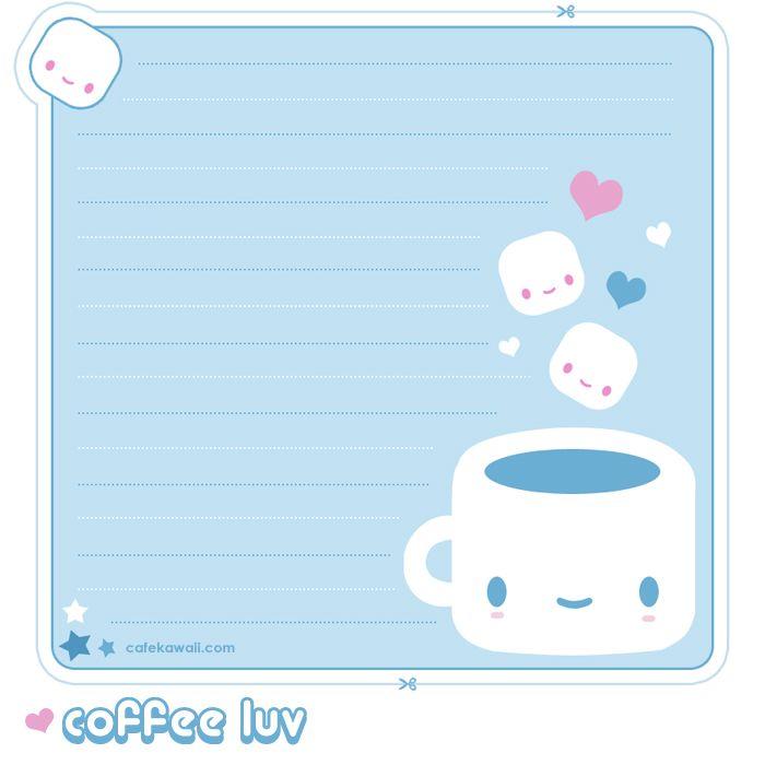 Free Printable Kawaii Coffee Memo Sheet Planners\Journals - printable notepad paper