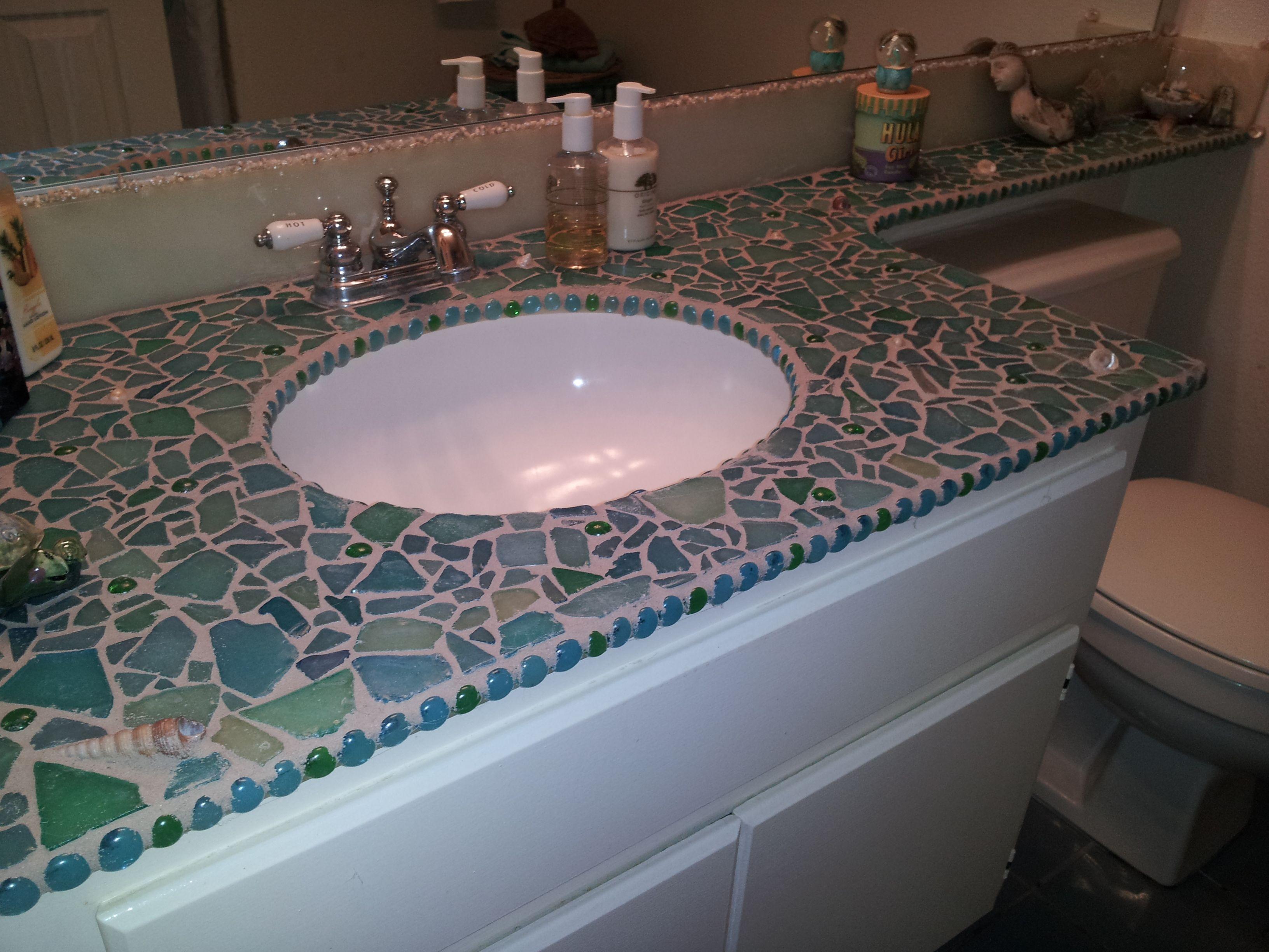 Sea Glass And Shells Mixed Media Mosaic Bathroom Countertop By