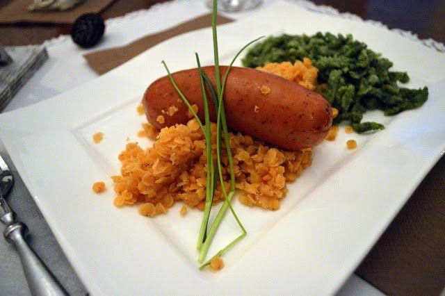 Regensburger Wurst (Danubian Sausage) with orange lentils and spinach spaetzle