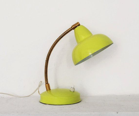 Vintage 50s desk lamp lime yellow enamel gooseneck lamp mid vintage 50s desk lamp lime yellow enamel gooseneck lamp mid century bright light mozeypictures Image collections