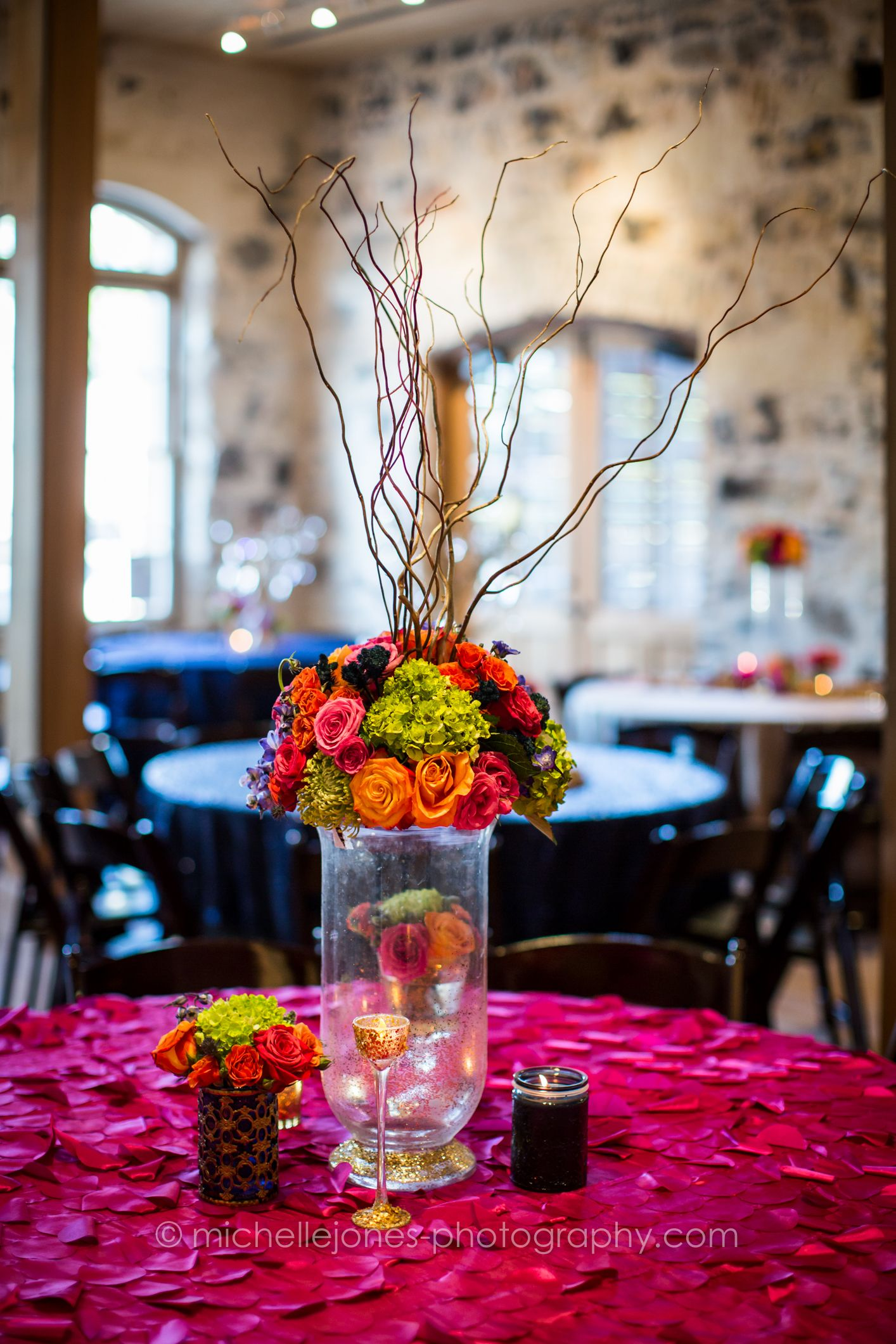 Centerpieces Wedding Reception Hot Pink Orange Lime Green Blue Rose