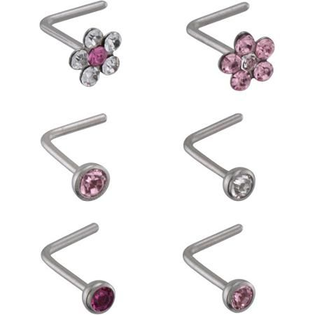 Tomas Jewelry 22 Gauge Lead Crystal L Shape Nose Stud Value Pack