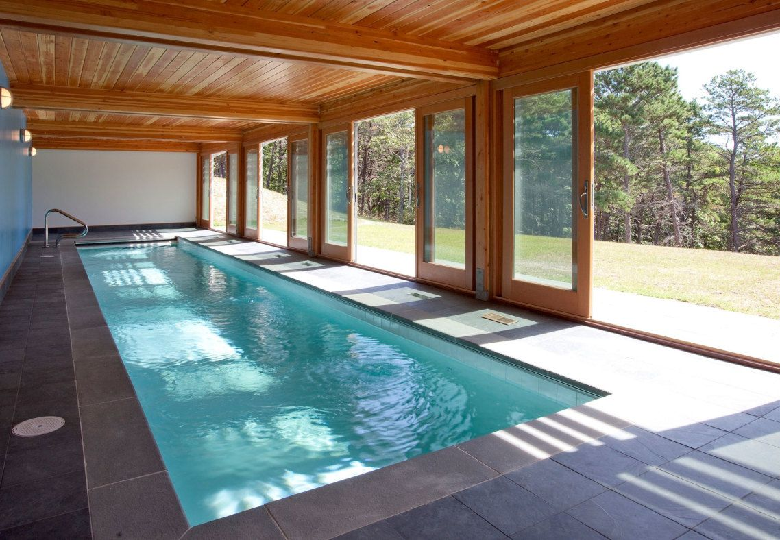 Awesome Brown Wood Glass Stainless Modern Design Swimming Pool