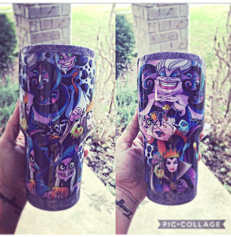 Custom Tumbler Glitter Tumbler Disney Disney Villains