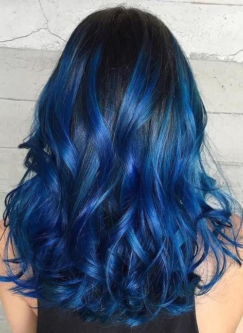 16 Blue Highlights For Black Hair Jpg 500 685 Blue Hair