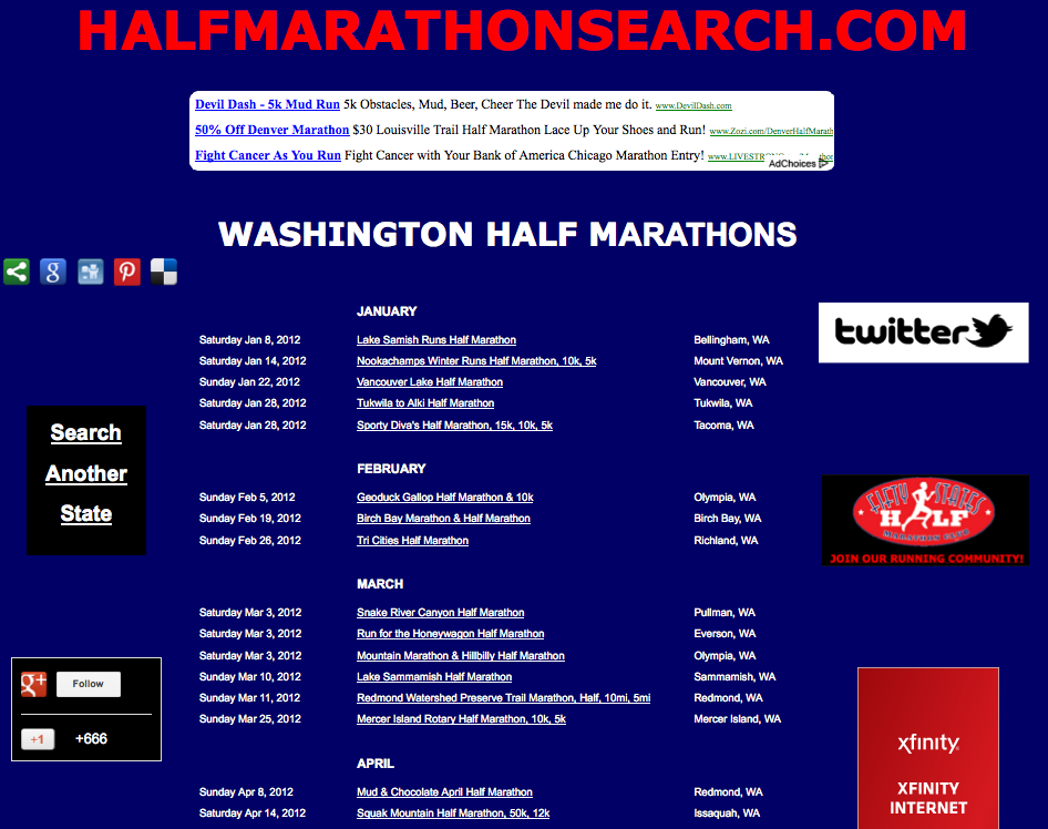 Washington half marathons, half marathon running events in