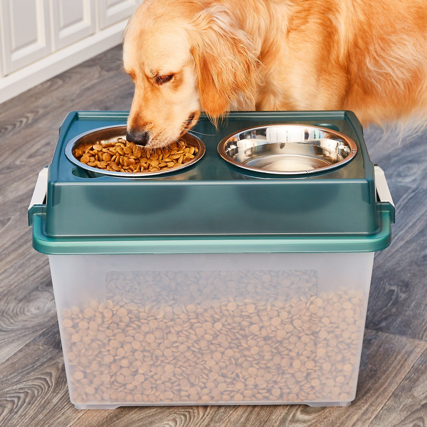 Iris Elevated Feeder With Airtight Food Storage Green Gray Large
