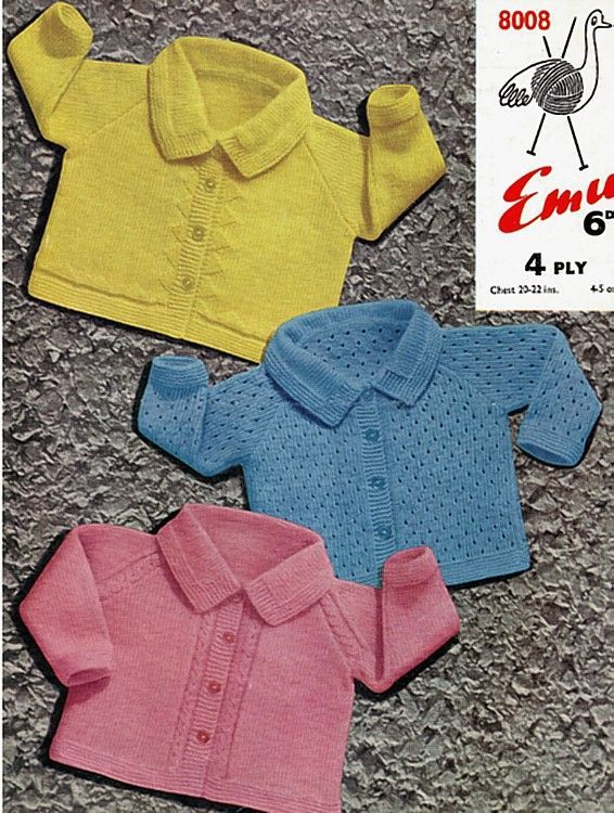 b4f02f33b PDF Digital Vintage Knitting Pattern Emu 8008 Baby Jackets Coats or ...