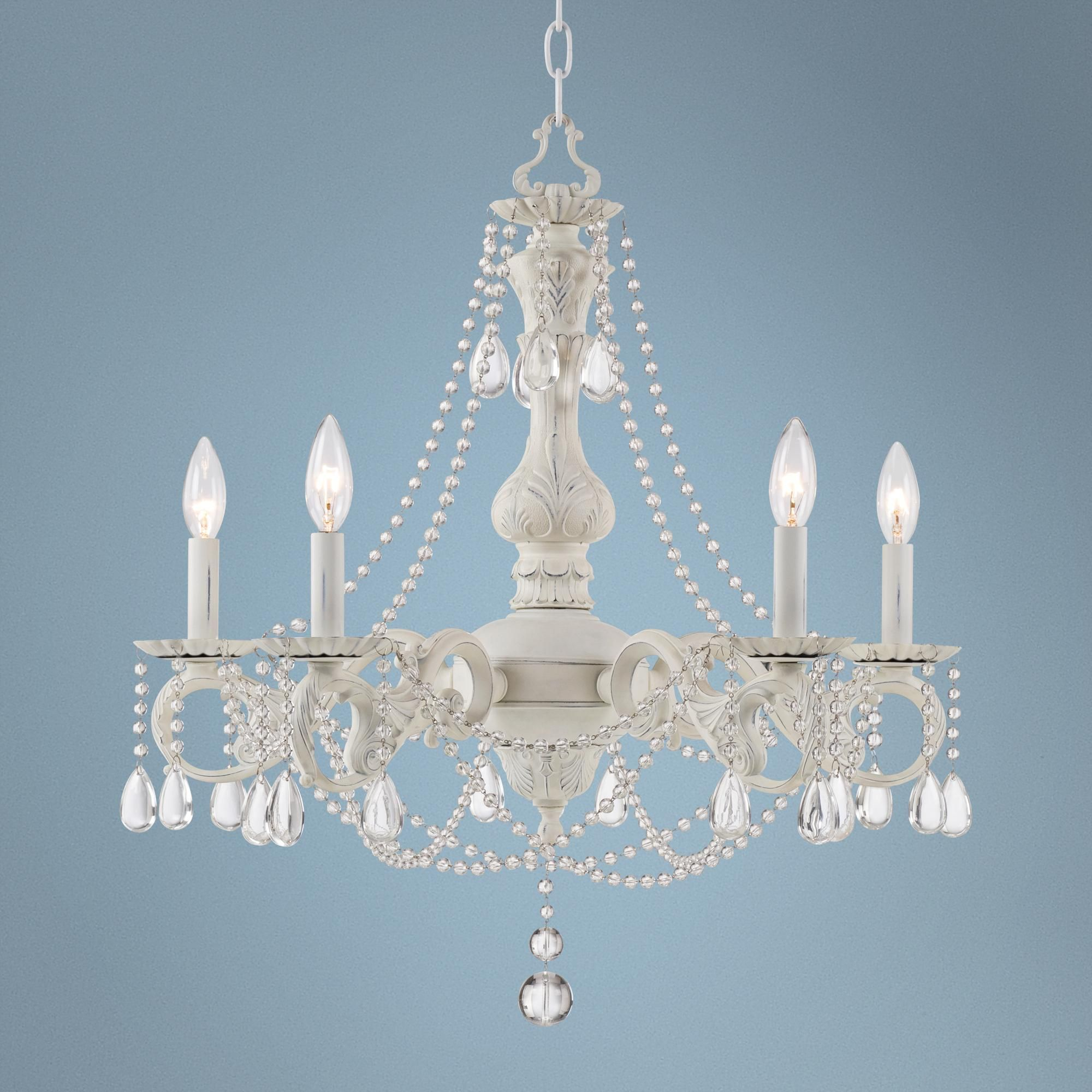 Kathy Ireland Stacey White 5 Light Beaded Crystal Chandelier