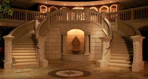 This giallo fantasia granite grand double curved staircase for Double curved staircase