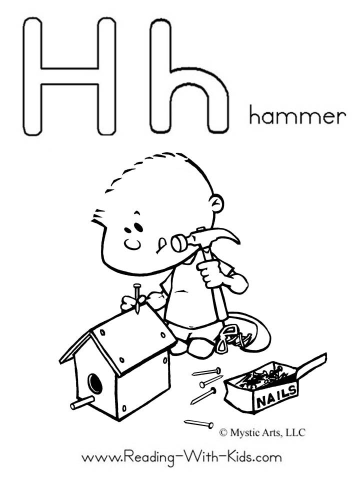 H is for hammer (coloring pages for all letters) | Kids | Pinterest ...