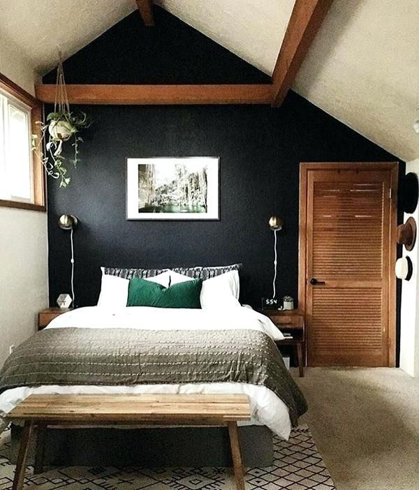 Dark Accent Wall In Small Bedroom Contrast Dark Wall Against Light Bedspread Dark Accent Wall In Small Bedroom Home Bedroom Home Decor Bedroom Minimalist Home