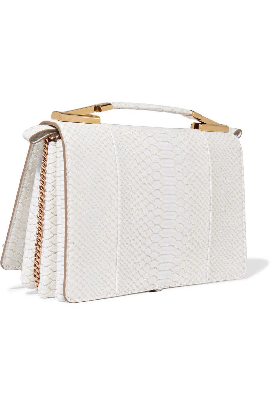 Flo Python-effect Faux Leather Shoulder Bag - Black Stella McCartney ozVem