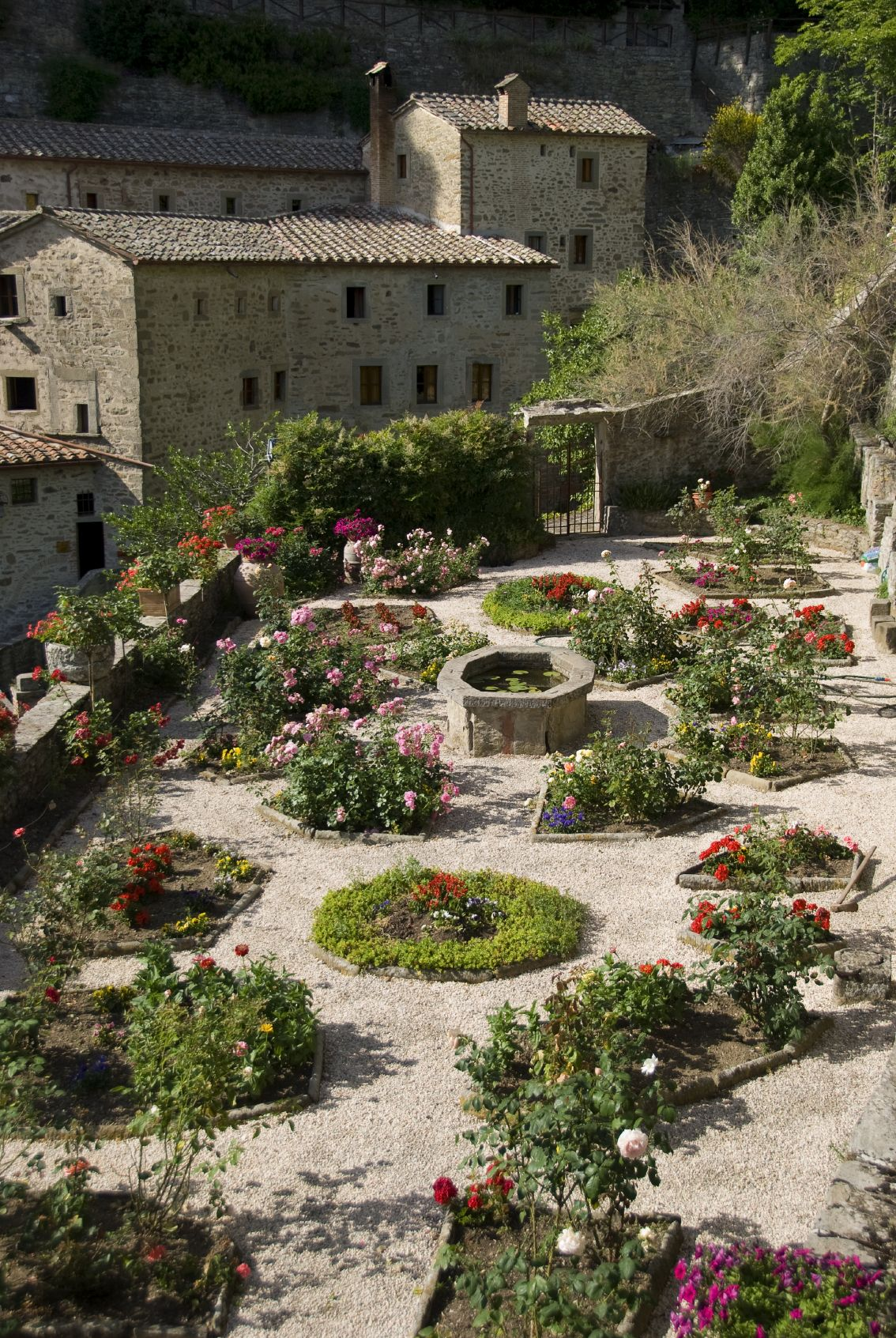 A beautiful garden well tended by the monks in this for Italian garden design