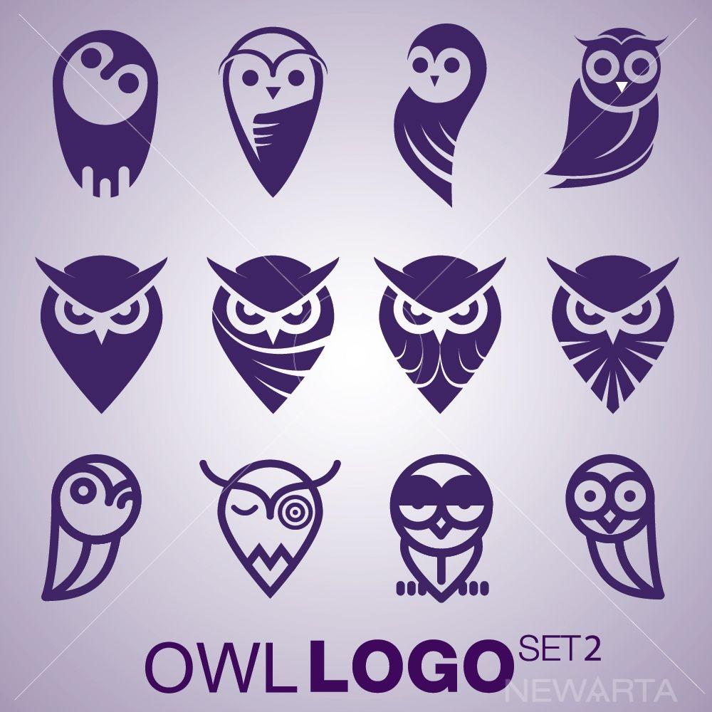 Owl logo set 2 Owl logo, Owl graphic, Owl