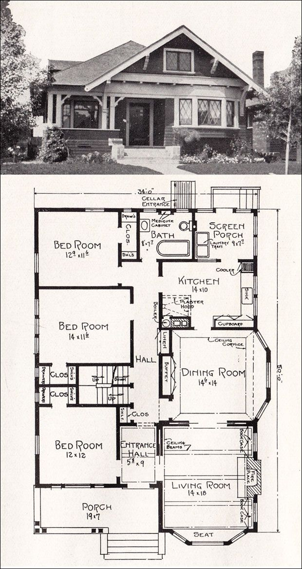 Transitional Bungalow Floor Plan c 1918 Cottage House Plan by E W Stillwell Vintage Los Angeles Homes