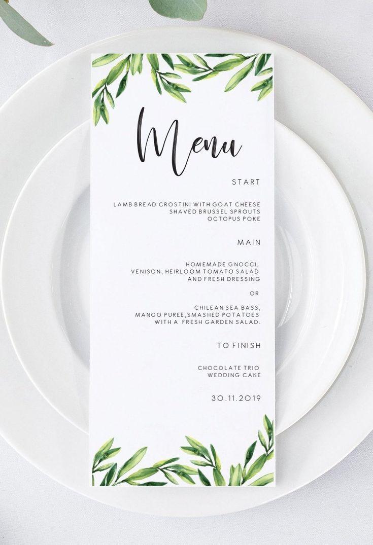 Greenery Wedding Menu, Menu Template, Printable Wedding Menu Card, Instant Download Editable PDF 104