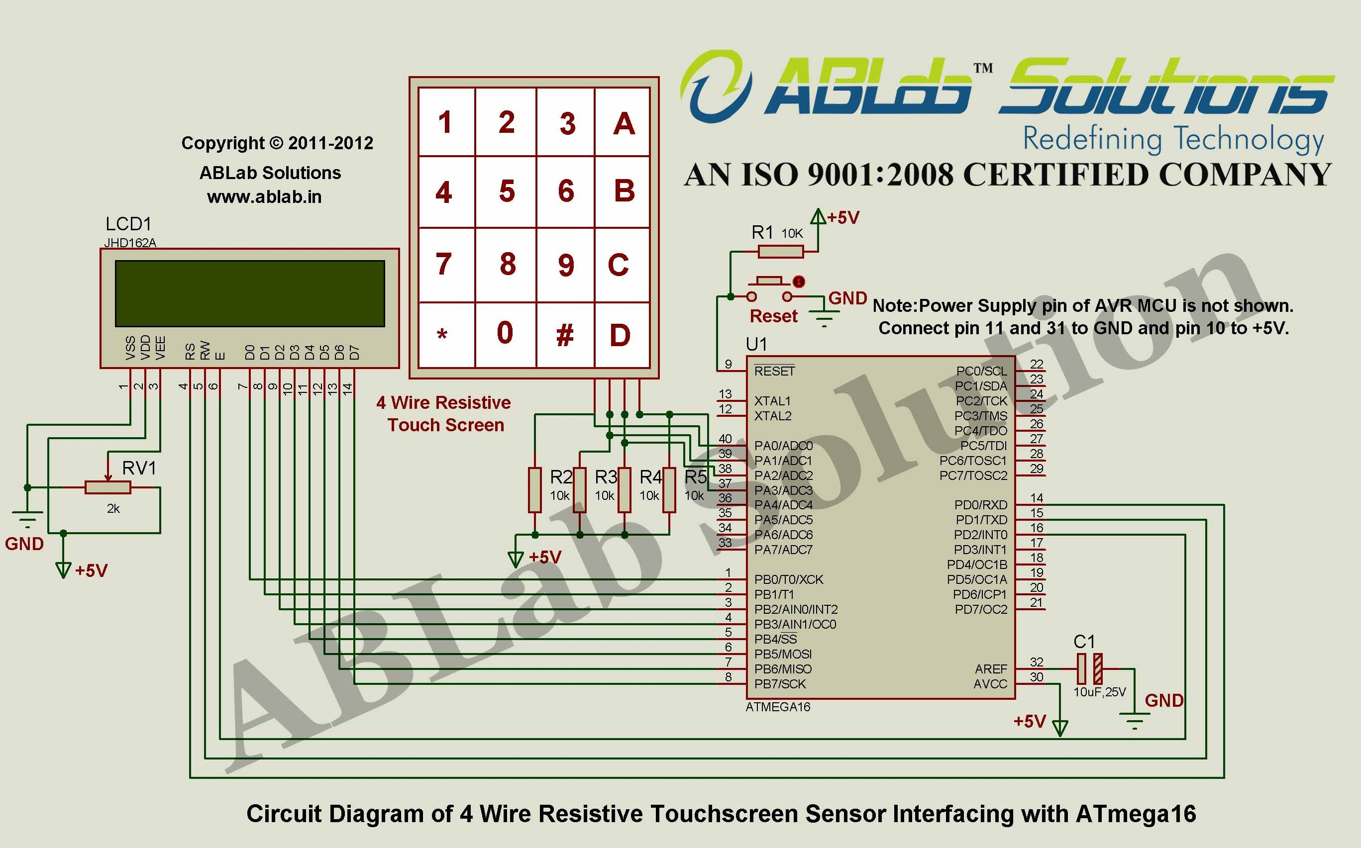Ab Microcontroller Wiring Diagram 7 00 Automatic Door Lock System With 805189c5189c52 4 Wire Resistive Touchscreen Sensor Interfacing Avr Atmega16 Abs 2001 S40