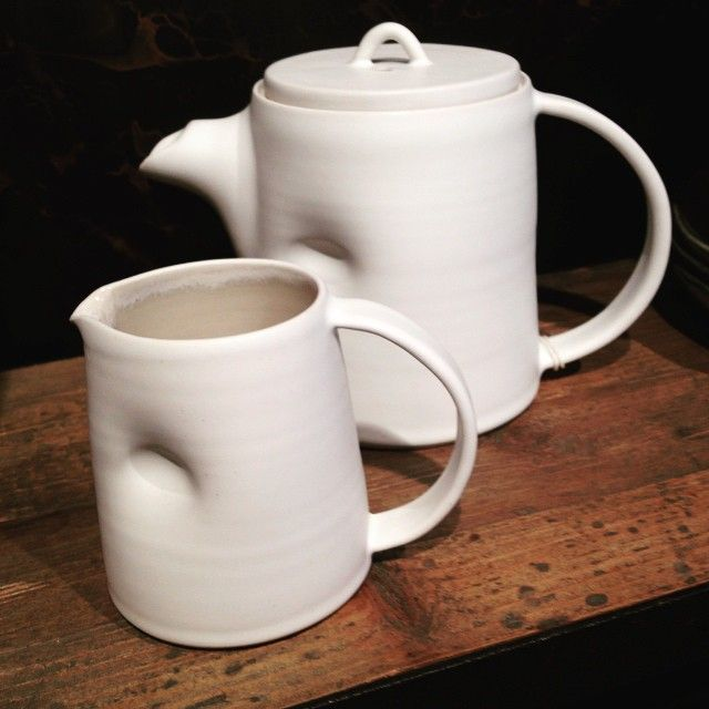 Dimple jug & dimple teapot ...reminds me of holly bells work, which I adore! Favourite white China.