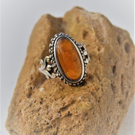 Vintage Amber Ring  Sterling Silver Ring  Large by SweetVintageTX