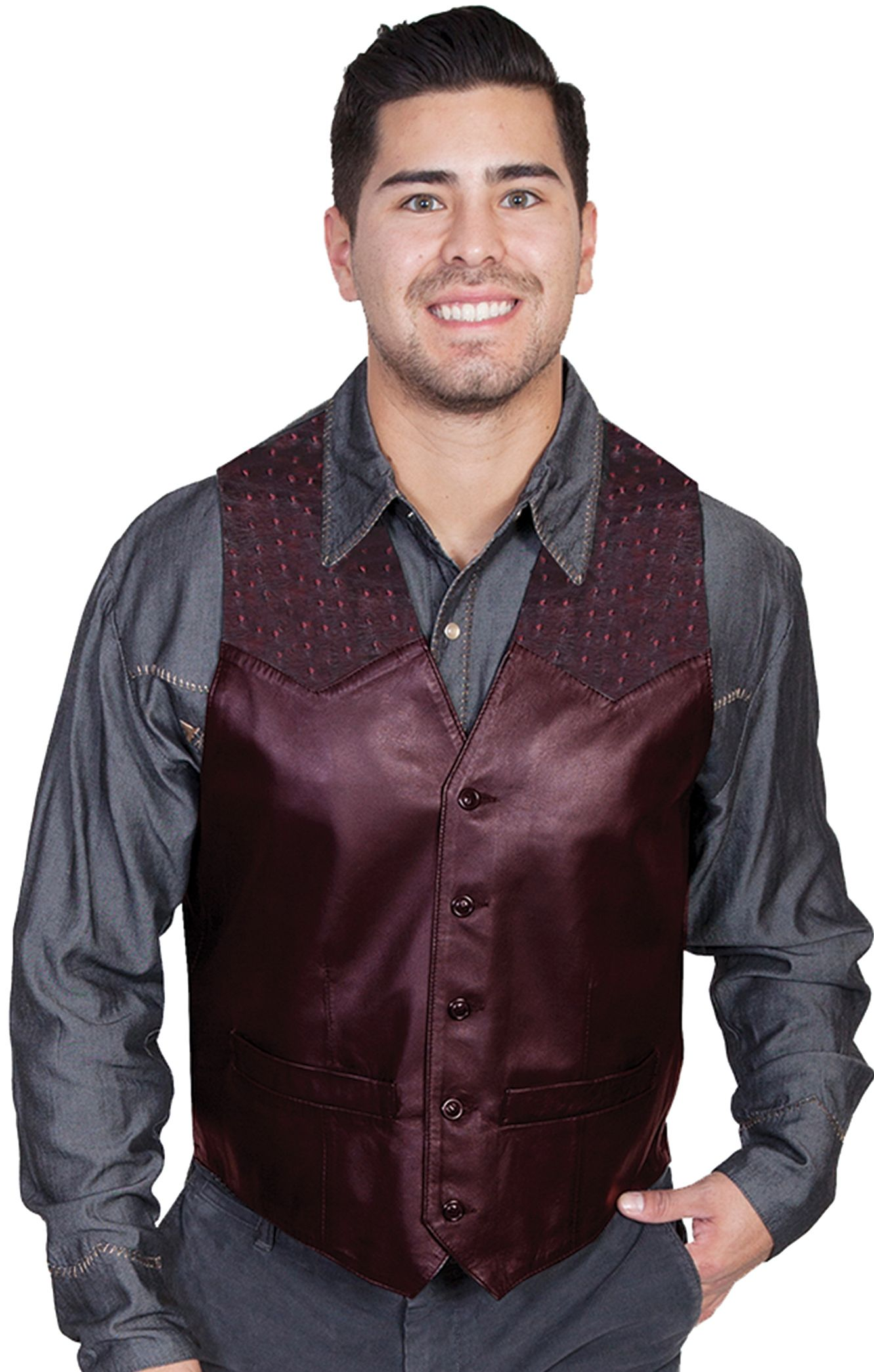 8b3185914 This Mens Scully Black Cherry lambskin leather Ostrich Western Vest ...