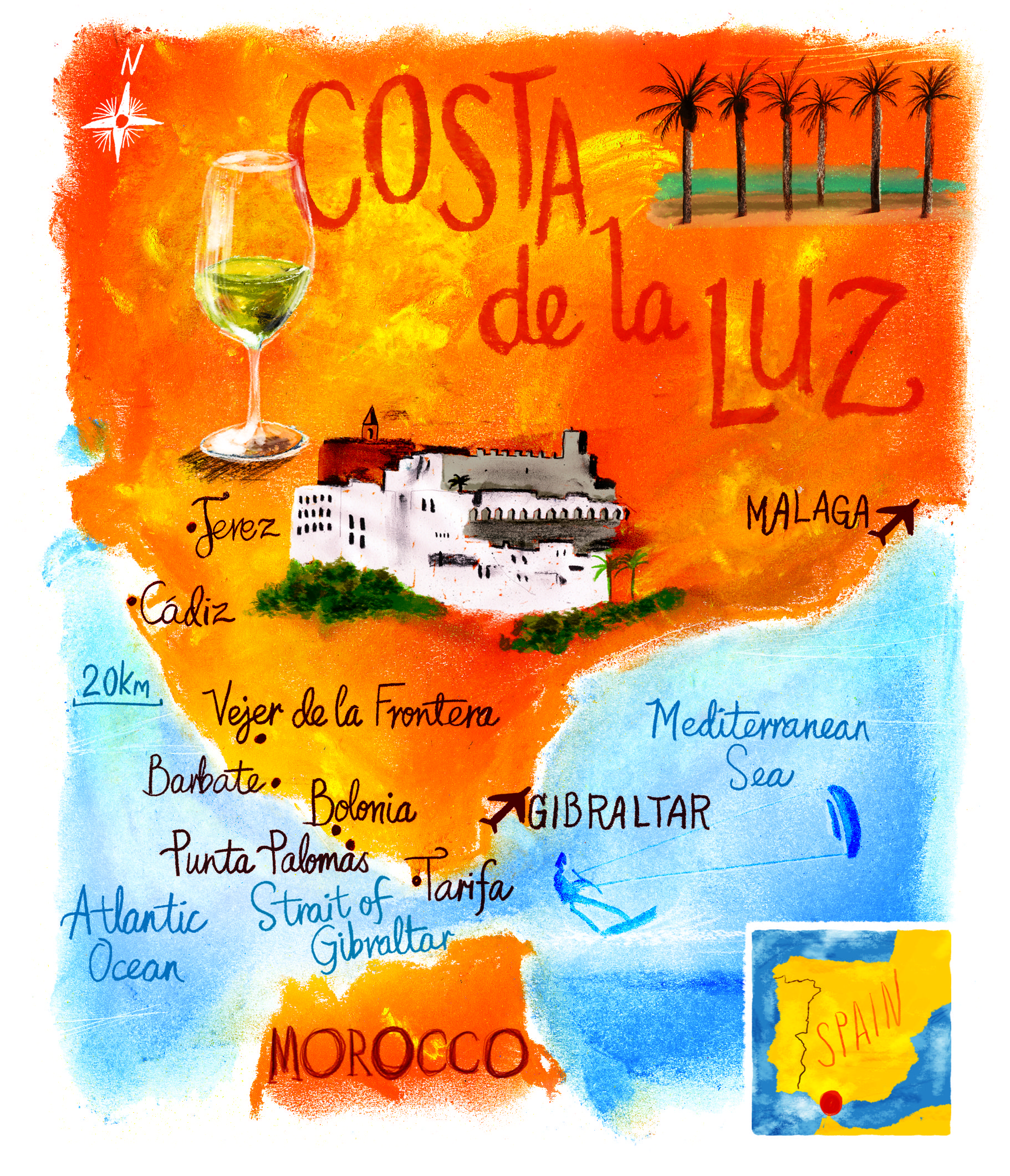 Good Places To Travel November: From Cadiz To Tarifa: Costa De La Luz, Spain, Map By Scott